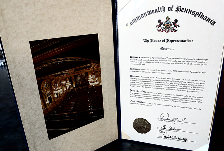 House of Representatives Citation 2020 awarded to Gettysburg Construction